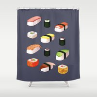sushi Shower Curtains featuring Sushi by Skrich