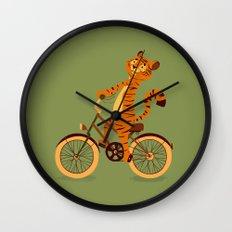 Tiger on the bike Wall Clock