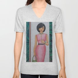 The Woman In Pink Unisex V-Neck