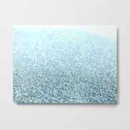 Ice Blue Glitter Sparkle Metal Print