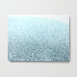 Ice Blue Glitter Sparkle Metal Print
