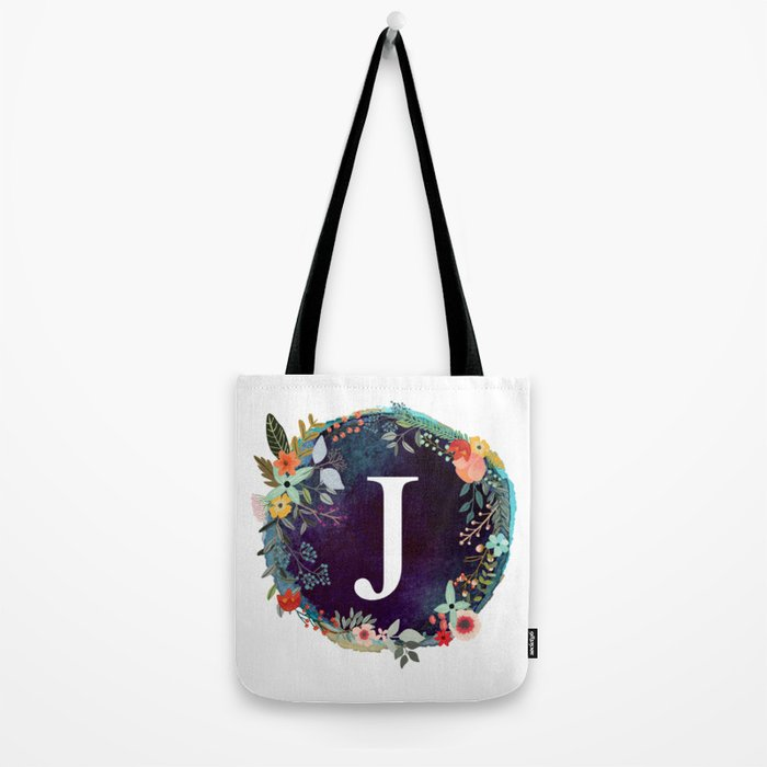 Personalized Monogram Initial Letter J Fl Wreath Artwork Tote Bag