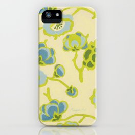 Japanese Flowers On Yellow Background iPhone Case