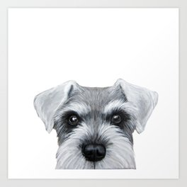 Schnauzer Grey&white, Dog illustration original painting print Art Print