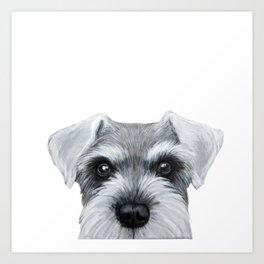 Schnauzer Grey&white, Dog illustration original painting print Art Print