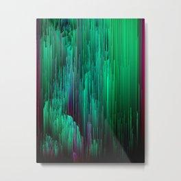 Lit from Below - Abstract Glitch Pixel Art Metal Print