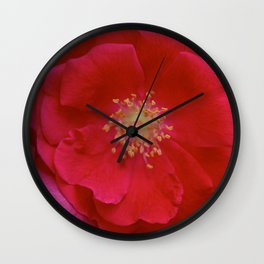 Red Bloom Wall Clock