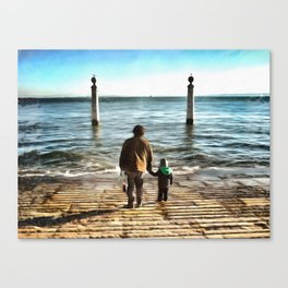 Father and sun looking into future Canvas Print