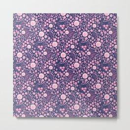 Abstract pink garden pattern in blue marine background Metal Print