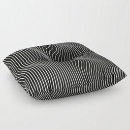 Minimal curves black Floor Pillow