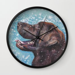 Chocolate lab LABRADOR RETRIEVER dog portrait painting by L.A.Shepard fine art Wall Clock