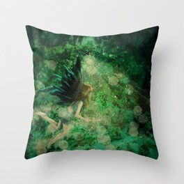 Abstract illustration of fairy fly in the forest Throw Pillow