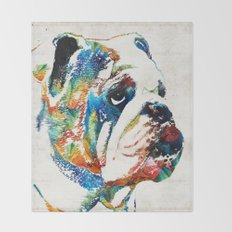 Bulldog Pop Art - How Bout A Kiss - By Sharon Cummings Throw Blanket