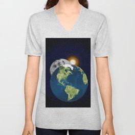 Earth Moon and Sun Unisex V-Neck