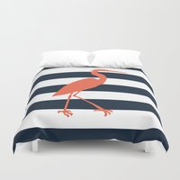 crane Duvet Covers featuring Crane by Gathered Nest Designs
