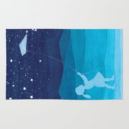 Girl with kite, kids watercolor Rug