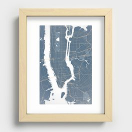New York City - Detailed Road & Subway Map Recessed Framed Print