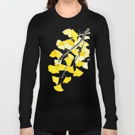 Golden Ginkgo Leaves Long Sleeve T-shirt