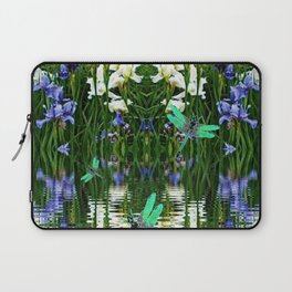 TURQUOISE DRAGONFLIES IRIS WATER REFLECTIONS Laptop Sleeve