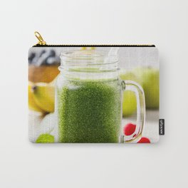 Close-up of green fresh smoothie with fruits, berries, oats and seeds, selective focus. Carry-All Pouch