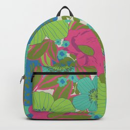 Green, Turquoise, Blue and Magenta Retro Floral Pattern Backpack