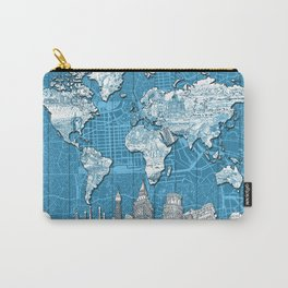 world map city skyline 10 Carry-All Pouch