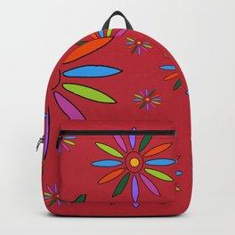 Flower Art in Multicolor - Red Backpack