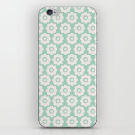 Duck Egg Blue Retro Floral iPhone Skin