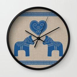 Christmas Blue Dala Horses on Burlap Wall Clock