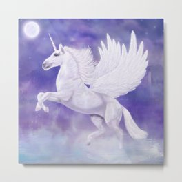 Flying Unicorn Metal Print
