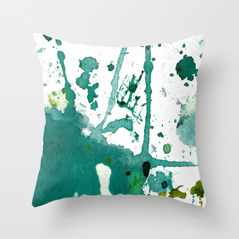Emerald Green Splash Throw Pillow By Agnestrachet Society6