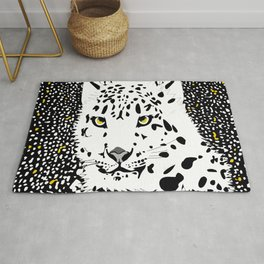 ANIMAL PRINT CHEETAH LEOPARD D  INCOGNITO BLACK AND WHITE AND YELLOW Rug