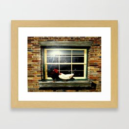 The rooster and a hen on a window Ledge Framed Art Print