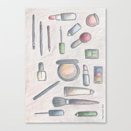 MAKE-UP - pencil and coloured pencil illustration Canvas Print