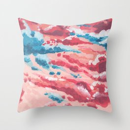 Blue and Pink Cloudy sky Throw Pillow