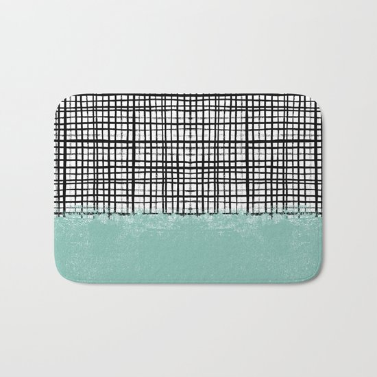 Mila - Grid and mint -  paint, art, artist cell phone case, grid phone case Bath Mat