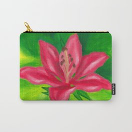 Pink Lily - Floral Oil Painting Carry-All Pouch