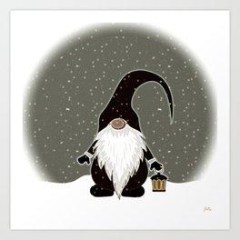 Vintage Christmas Gnome Art Print