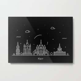 Kiev Minimal Nightscape / Skyline Drawing Metal Print