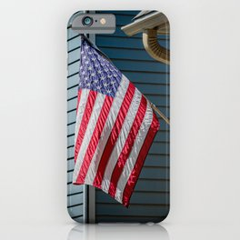 Old Glory American Flag Flown from Front Porch Naperville Illinois iPhone Case