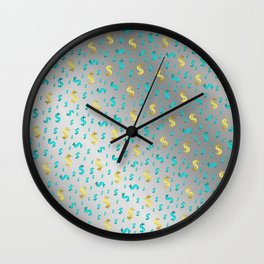 gold,blue silver metal dollar Wall Clock