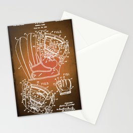 Baseball Glove Patent Blueprint Drawing Sepia Stationery Cards