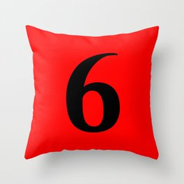 6 (BLACK & RED NUMBERS) Throw Pillow
