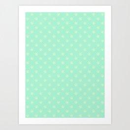 Cream Yellow on Magic Mint Green Snowflakes Art Print