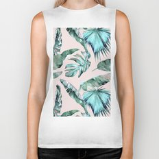 Tropical Palm Leaves Turquoise Green Coral Pink Biker Tank