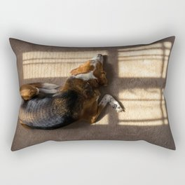 Beagle hound mix sun bathing indoors by the window.  Overhead view. Rectangular Pillow