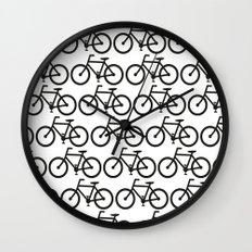 Bicycle Stamp Pattern - Black and White - Fixie Fixed Gear Bike Wall Clock