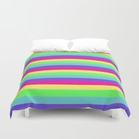 stripes Duvet Covers featuring Rainbow Stripes by WhimsyRomance&Fun