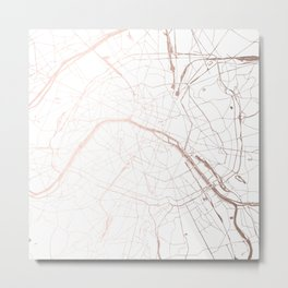 Paris France Minimal Street Map - Rose Gold Glitter Metal Print