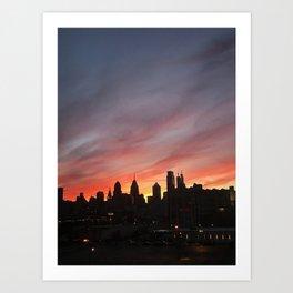 philadelphia skyline at sunset Art Print